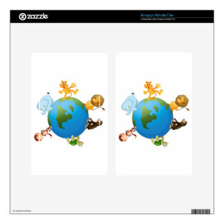 various animals on earth globe decal for kindle fire