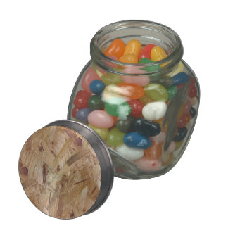 Various brown color particle board glass jar