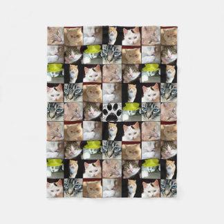 Various Cat Faces Collage Fleece Blanket