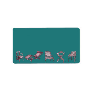 Various chairs in dark turquoise label