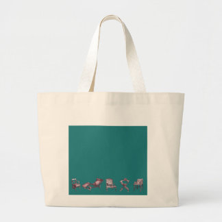 Various chairs in dark turquoise large tote bag