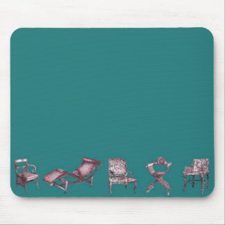 Various chairs in dark turquoise mouse pad