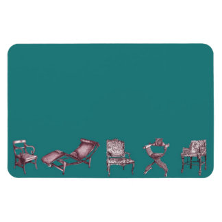 Various chairs in dark turquoise vinyl magnets