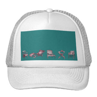 Various chairs in dark turquoise trucker hats