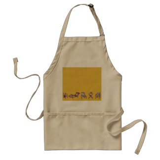 Various chairs in mustard adult apron