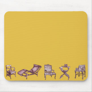 Various chairs in mustard mouse pad