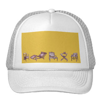 Various chairs in mustard trucker hat