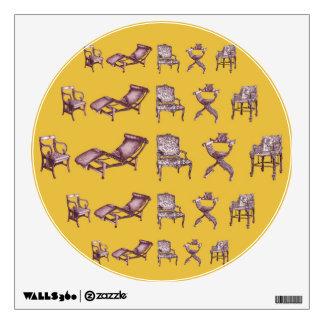 Various chairs in mustard wall sticker