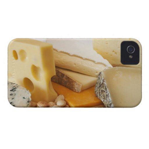 Various cheeses on chopping board iPhone 4 case