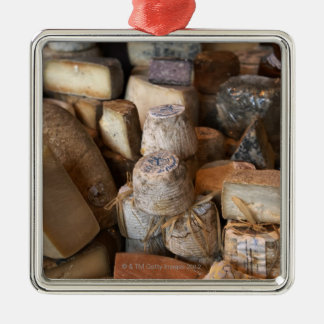 Various cheeses on market stall, full frame square metal christmas ornament