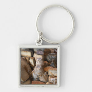 Various cheeses on market stall, full frame Silver-Colored square keychain