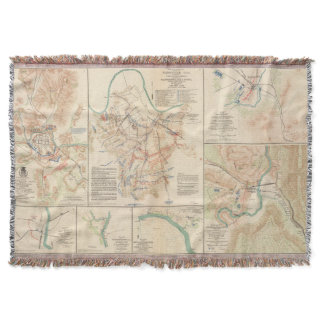 Various Civil War Battlefields Vintage Map (1895) Throw Blanket