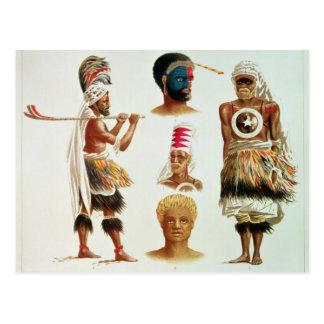 Various Dancing Costumes Worn at Nakello, Fiji Postcard