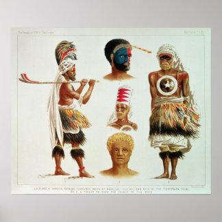 Various Dancing Costumes Worn at Nakello, Fiji Poster
