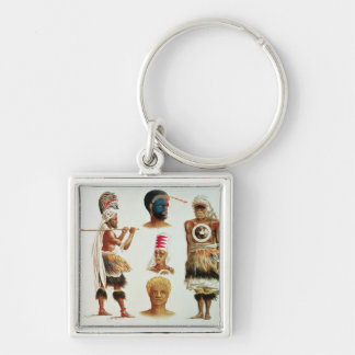 Various Dancing Costumes Worn at Nakello, Fiji Silver-Colored Square Keychain