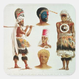 Various Dancing Costumes Worn at Nakello, Fiji Sticker