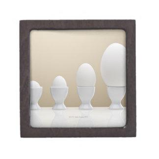 Various eggs in egg cups keepsake box