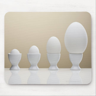 Various eggs in egg cups mouse pad