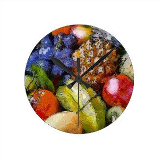 VARIOUS FRUITS ROUND WALL CLOCK