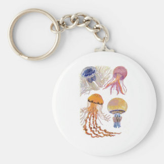 Various Jelly Fish Basic Round Button Keychain