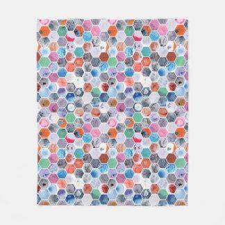 Various Marbled Hexagons Fleece Blanket