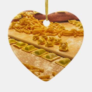 Various mix of fresh italian homemade pasta ceramic ornament