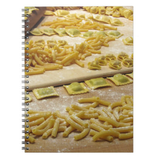Various mix of fresh italian homemade pasta notebook