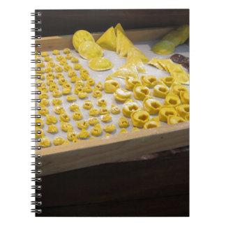 Various mix of fresh italian homemade pasta spiral notebook