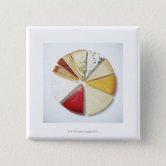 Various pieces of cheese resembling a pie chat button