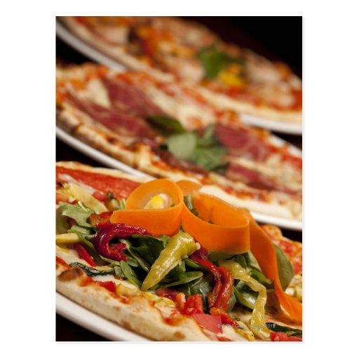 Various Pizza and Toppings Postcards