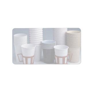 Various plastic drinking cups Photo Custom Address Labels