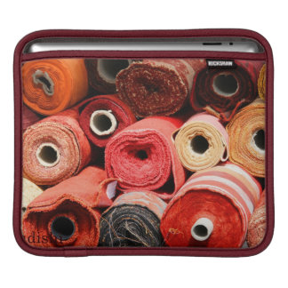 Various roles of fabric in warm tones iPad sleeve