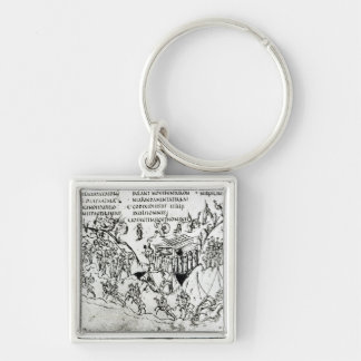 Various scenes illustrating a psalm 2 Silver-Colored square keychain