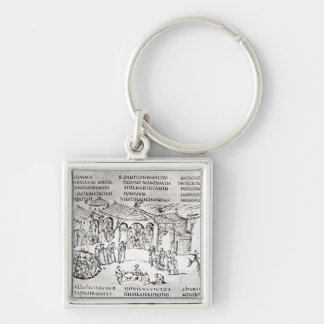 Various scenes illustrating a psalm Silver-Colored square keychain