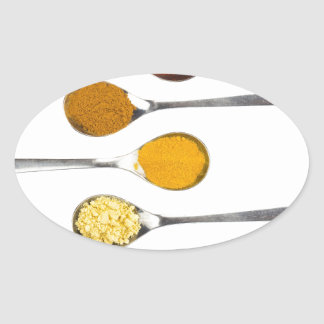 Various seasoning spices on metal spoons oval sticker