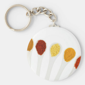 Various seasoning spices on porcelain spoons keychain