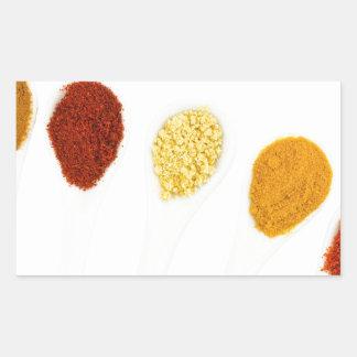 Various seasoning spices on porcelain spoons rectangular sticker