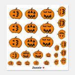[ Thumbnail: Various Silly Face Halloween Jack-O'-Lanterns Sticker ]