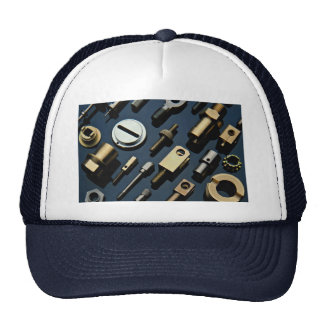 Various small nuts, bolts and screws trucker hat