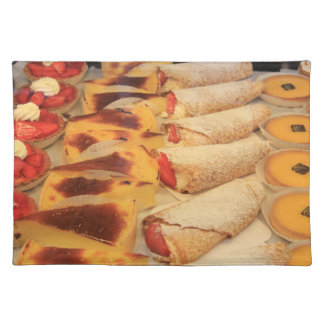 Various sorts of pastry placemats