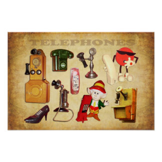 Various Telephones - old and new Poster