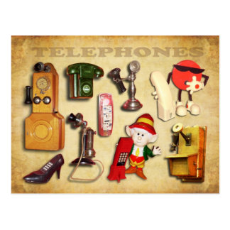 Various Telephones - Vintage and Modern Postcard