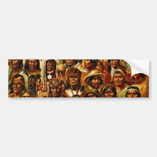 Various Tribes of Native American Indians Collage Car Bumper Sticker