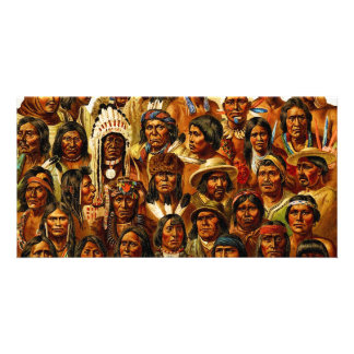 Various Tribes of Native American Indians Collage Photo Card Template