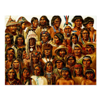 Various Tribes of Native American Indians Collage Postcard
