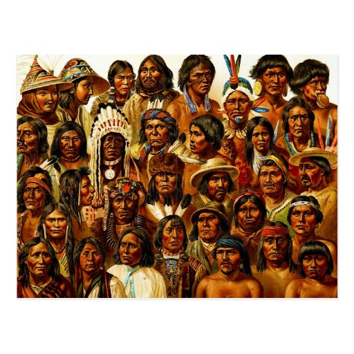 Various Tribes of Native American Indians Collage Post Card