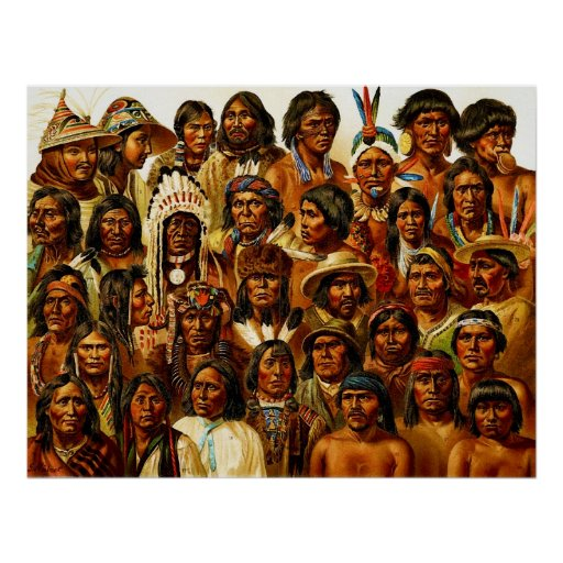 Various Tribes of Native American Indians Collage Poster
