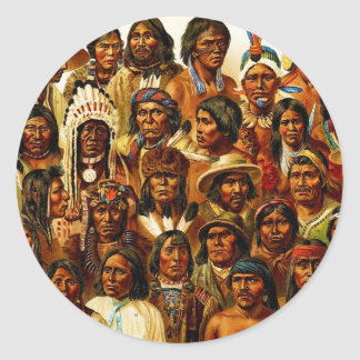 Various Tribes of Native American Indians Collage Classic Round Sticker