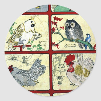 Various types of birds Ukiyoe Classic Round Sticker