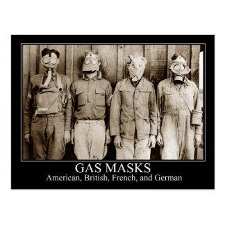 Various types of Gas Masks Postcard